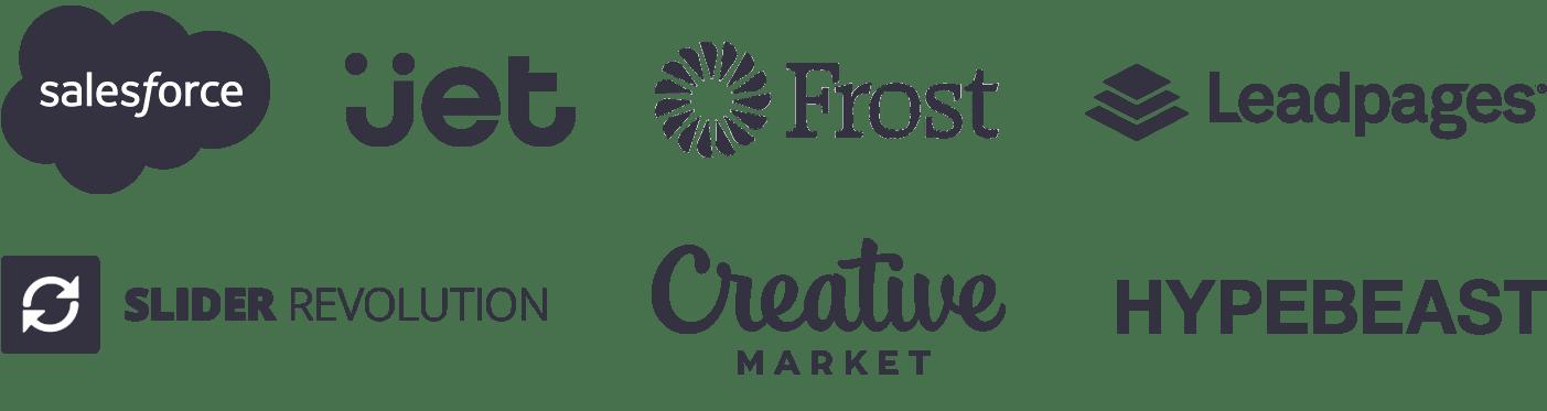 Salesforce, Jet, Frost Bank, Creative Market, Slider Revolution, Freepik, Leadpages, Hypebeast